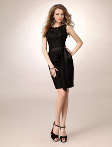Vestido de dama de honra duas peças do laço do bainha joelho faixa preta com pescoço de jóia Vestidos de Convidados para Casamento