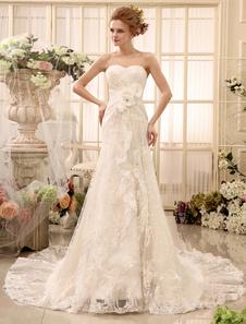 فساتين الزفاف حمالة الرباط ثوب الزفاف حبيبته العنق الزهور مطوي المتتالية الكشكشة قطار فستان الزفاف ميلانو