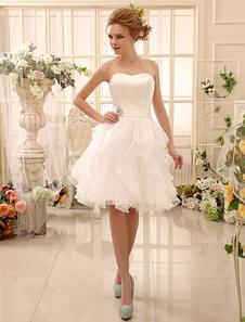 فستان الزفاف القصير حمالة المستويات المتدرج الحبيب خط العنق الحرير طول الركبة ثوب الزفاف ميلانو2020