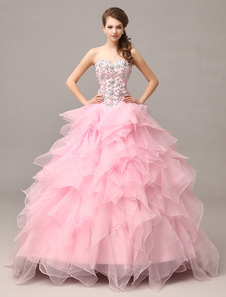 Vestido de noche rosa en niveles vestido de volantes de Organza Vestido de diamantes de imitación