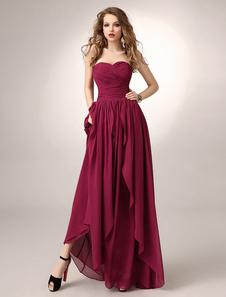 Бургундии-Платье трапеция шифон Ruched невесты платье с вырезом в виде сердца