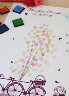 Romântico balões padrão imagem impressão dedo com 6 cores inkpads