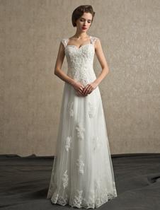 Vestido de noiva marfim linha-A em tule com apliques