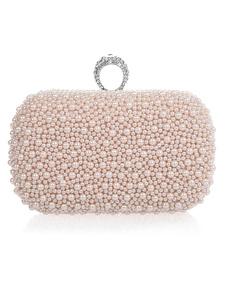 Casamento rosa luz bolsa pérolas Glitter liga bolsa