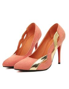 ميكرو الجلد المدبوغ الحديثة المرأة مدبب تو أحذية