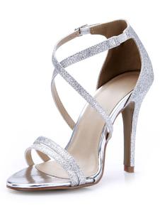 Sexy recorte prata salto agulha lantejoulas sandálias vestido de pano