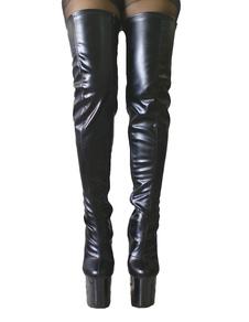 Черные сексуальные сапоги с бедрами Высокие сапоги Женская платформа Миндальный палец Шпилька на каблуках над сапогами