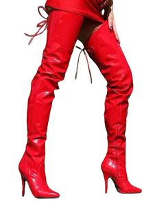 PU cuoio zip punta Sexy tacco alto stivali per le donne