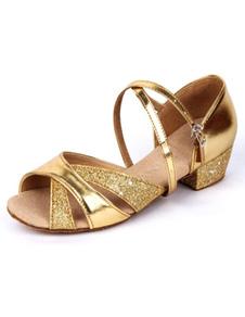 Zapatos de bailes latinos de tela con lentejuelas
