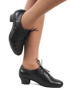 Черный раунд Toe зашнуровать воловьей кожи стильная обувь