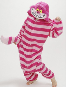 Costume Carnevale Pigiama Kigurumi Cheshire Cat Tutina per Adulto 2020 Alice in Wonderland Cat Fleece Flanell Costume Carnevale