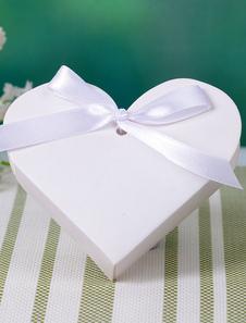 Coração branco forma arco fita papel caixa do Favor do casamento