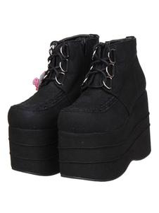Sapatos de plataforma alta Lolita veludo preto rendas até