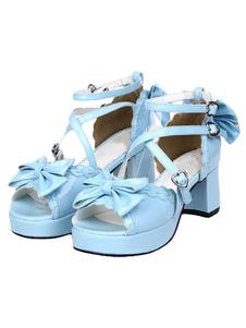 Sandalias de lolita de PU con lazo de estilo dulce