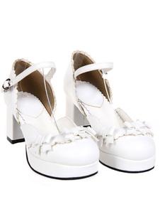 Zapatos Lolita Dulce Tacones Pony Platforma Gruesos Hebilla Lazos