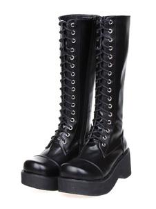 Gothic Lolita nero stivali piattaforma Shoelace Zip progettato