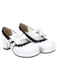 Bella rotonda Toe PU cuoio Street indossare scarpe Lolita