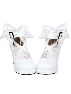 Sapatos de Salto alto gordo branco Lolita tornozelo cinta arco Decor