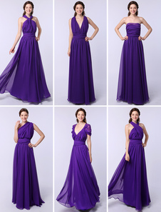 Cheap Bridesmaid Dressess Long One Size Fits All Lavender Chiffon Vestido De Festa De Casamento (7 Estilos) Milanoo