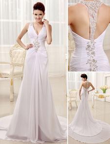 Vestido de novia de chifón con cuello en V y pliegues de cola larga