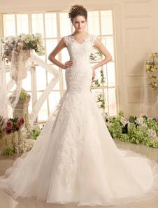 فساتين الزفاف الدانتيل الخامس الرقبة حورية البحر فستان الزفاف العاج الوهم الأورجانزا ثوب الزفاف