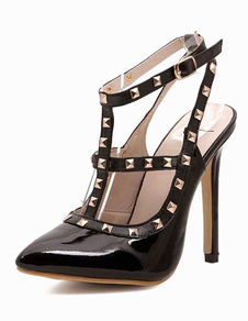 Black High Heels Pointed Toe Rivets Strappy Stiletto Heel Pumps