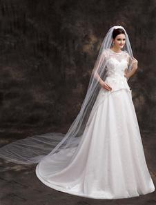 الأبيض البوليستر طبقة واحدة شلال قطع حافة الحجاب مصلى الزفاف