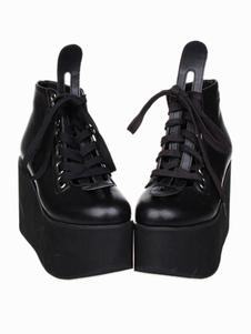 Красивая улица одежда черная искусственная кожа платформа Лолита обувь