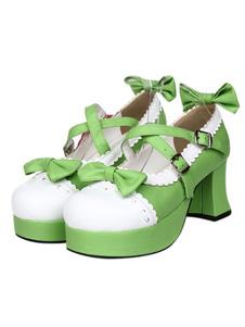 Элегантный зеленый круглый мыс PU кожа стрит носить обувь Лолита