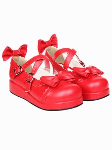 Zapatos de lolita rojos con lazo