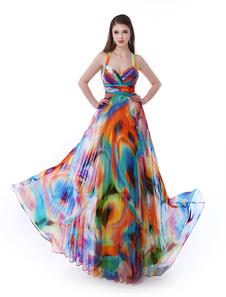 Arcobaleno stampato Halter Dress Prom Milanoo