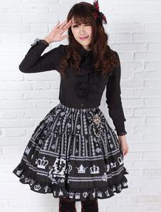 Elegante nero poliestere Lolita gonna dolce stampato volant Trim