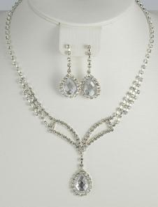 Шикарный Серебряный метал стразами свадебный набор ювелирных изделий