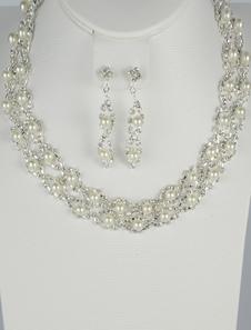 Серебряный модные жемчуг горный хрусталь свадьбы серьги и ожерелье ювелирные изделия
