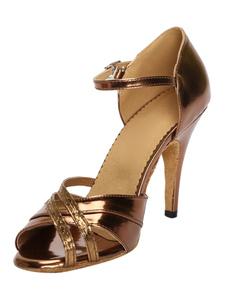 Qualidade Bronze Peep Toe PU couro sapatos latinos