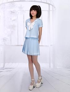 Ligero Azul Lolita Blusa Falda Traje Sailor Estilo