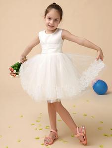 Vestido de Menina das Flores  Linda jóia-line marfim pescoço joelho-comprimento arco