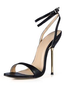 Preto salto agulha botões PU couro elegante vestido sandálias