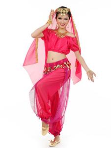 Disfraz Carnaval Disfraz de danza del vientre 2020 Charming Chiffon Bollywood Vestido de Baile para Mujer con Velo Carnaval