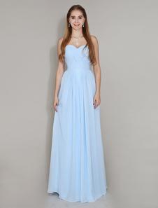 البوقيل الأزرق وصيفه الشرف اللباس الحبيب الرقبة الطابق طول الشيفون روتشد فستان زفاف الحزب