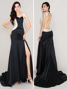 Vestidos de fiesta largos Vestido de noche de seda elástica con abertura lateral