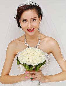 Leite branco redondo forma flores para casamento com strass