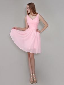 Vestido de damas de honor de chifón rosa con cuello en V sin mangas con pliegues hasta la rodilla