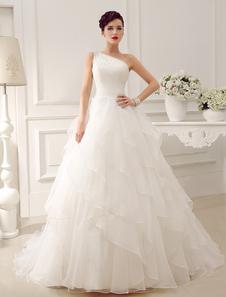 Marfil vestido de novia con escote a un solo hombro y lentejuela de cola capilla Milanoo