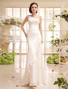Свадебное платье для невесты с оболочкой одно плечо сторона драпировки из шифона  Milanoo