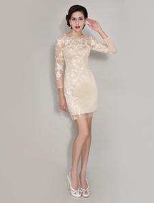 Vestido corto para la madre de los novios con escote redondo y 3/4 manga adornado de encaje  Vestidos de boda para huéspedes vestidos de madrina de boda vestidos para mamá
