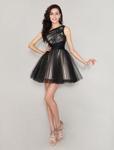 Um-ombro plissada tule bonito vestido para o baile curto com Beading Milanoo
