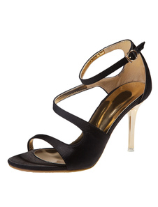Favoloso nero tagliato di seta e Satin Peep Toe tacco a spillo scarpe