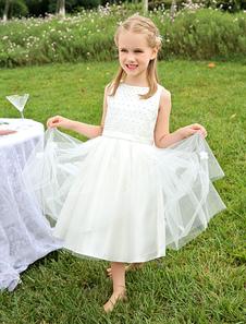 Vestido de niña para boda 2020 de las flores de perlas de marfil con cuentas vestido de tutú satén fajín longitud de la rodilla  vestidos de niña de fiesta