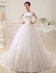فساتين زفاف الأميرة طويلة الأكمام ثوب الزفاف الدانتيل زين الترتر مطرز الوهم الكرة ثوب ثوب الزفاف مع قطار Milanoo